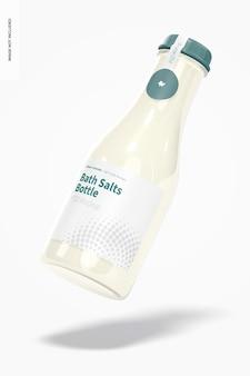 Мокап бутылки соли для ванн, плавающий Бесплатные Psd