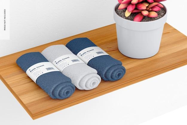 Mockup di asciugamani da bagno, sullo scaffale