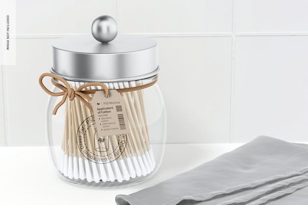 Мокап стеклянной банки для ванной