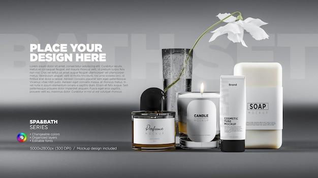 Bathroom and spa skincare products mockup