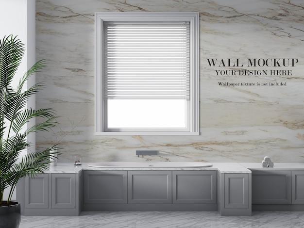セラミックタイルの浴室の壁のモックアップ