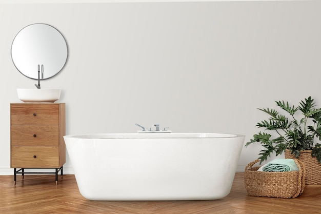 Bathroom wall mockup psd with luxury bathtub