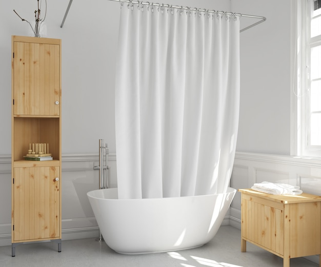 Ванна с занавеской и полками