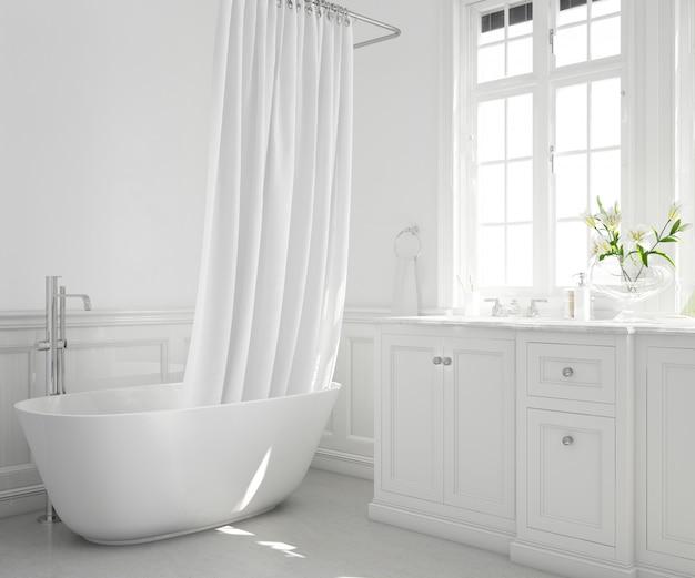 Ванна с занавеской, шкафом и окном
