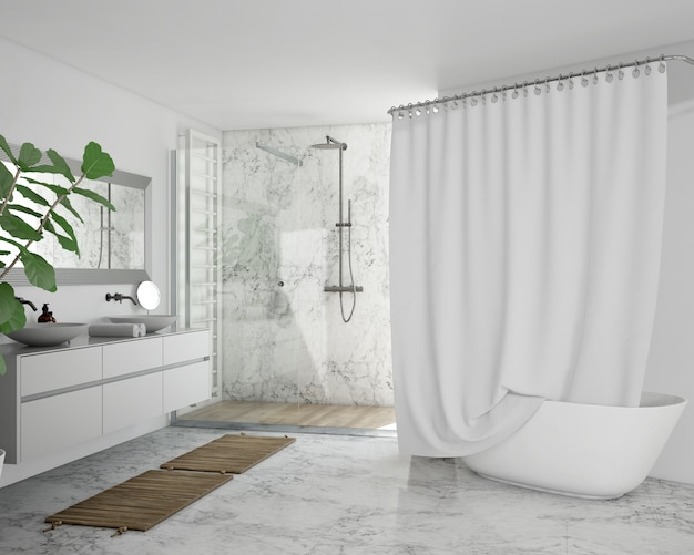 Bathtub with curtain, cupboard and shower