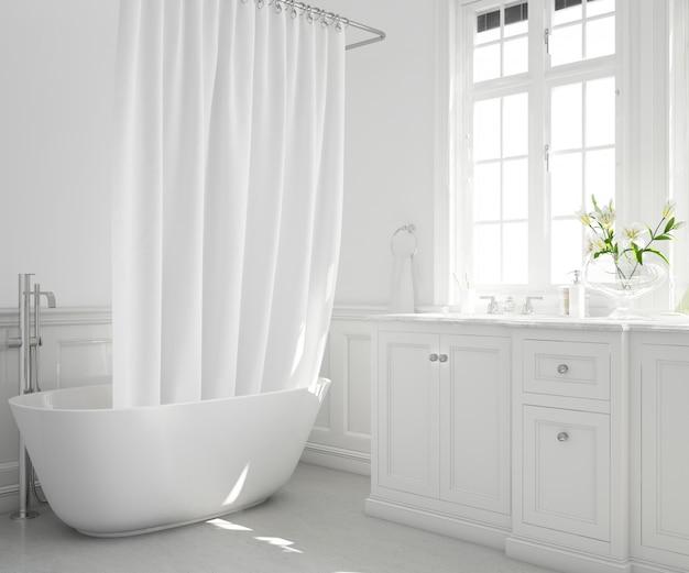 Vasca da bagno con tenda, armadio e finestra