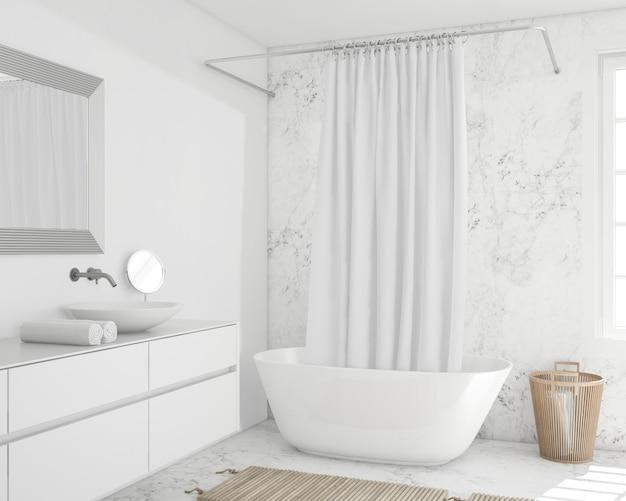 Bathtub with curtain and cupboard