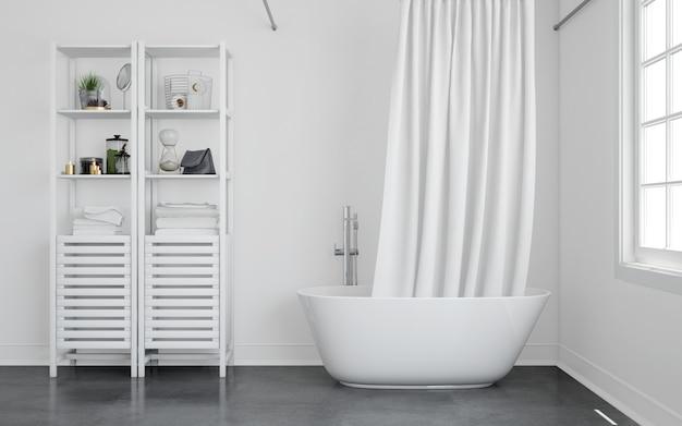 Bathtub with curtain and shelf