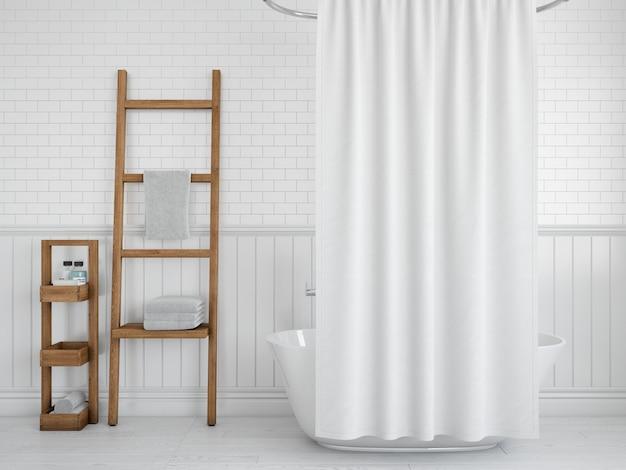Bathtub with curtain and shelves