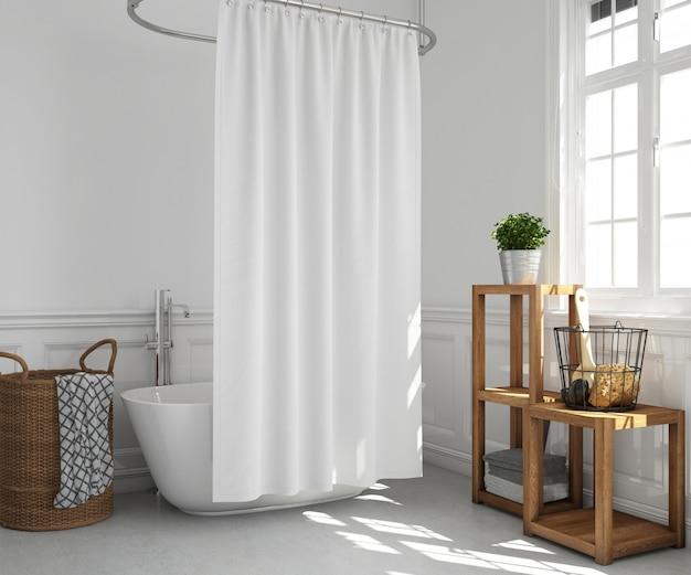 Vasca da bagno con tenda e mensole