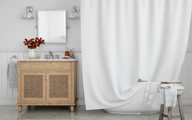 Bathtub with curtain and sink on cupboard