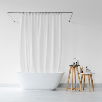 Bathtub with curtain and stool with hygiene products