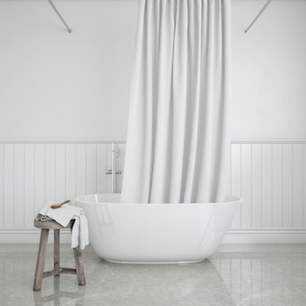 Bathtub with curtain and stool with towel