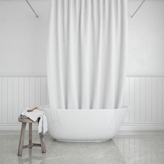 Vasca da bagno con tenda e sgabello con asciugamano