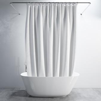 Bathtub with curtain