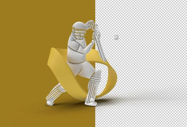 Бэтсмен играет в крикет. прозрачный psd-файл.