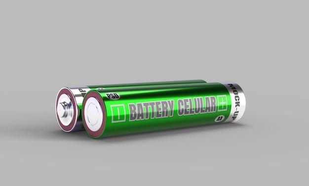 Battery cellular mockup in 3d render for product design