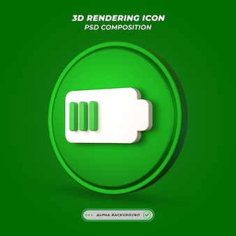 Значок зарядки аккумулятора в 3d-рендеринге