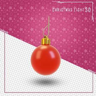 Bauble 3d render for merry christmas isolated