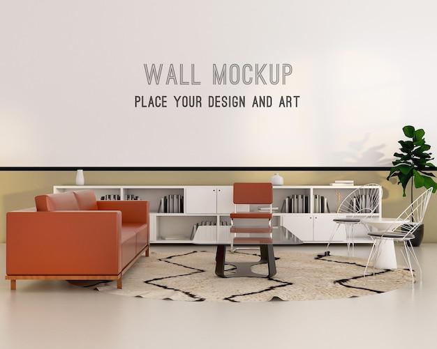 Гостиная в стиле баухаус с макетом стены Premium Psd