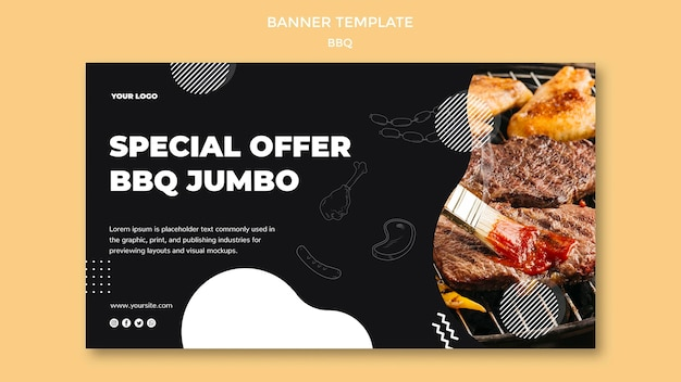 Bbq banner template concept