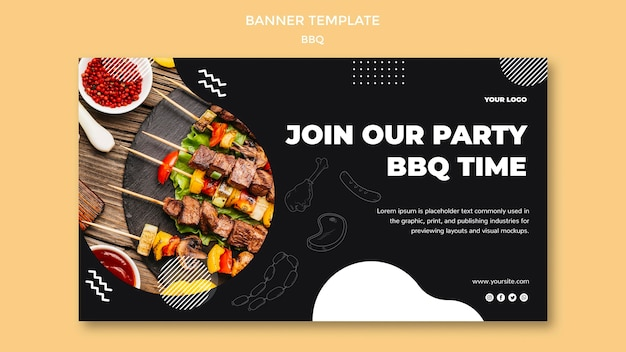 Дизайн шаблона баннера для барбекю
