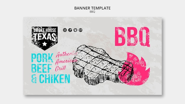 Bbq banner template with steak