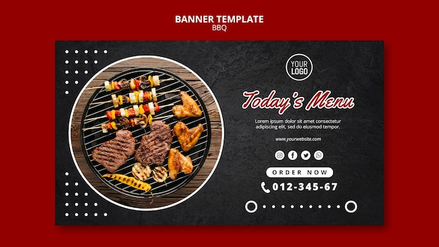 Bbq concept banner template Free Psd