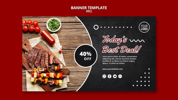 Bbq concept banner template