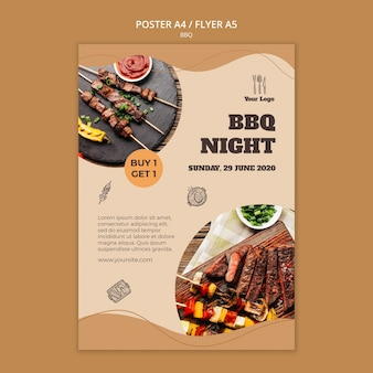 Bbq concept flyer template