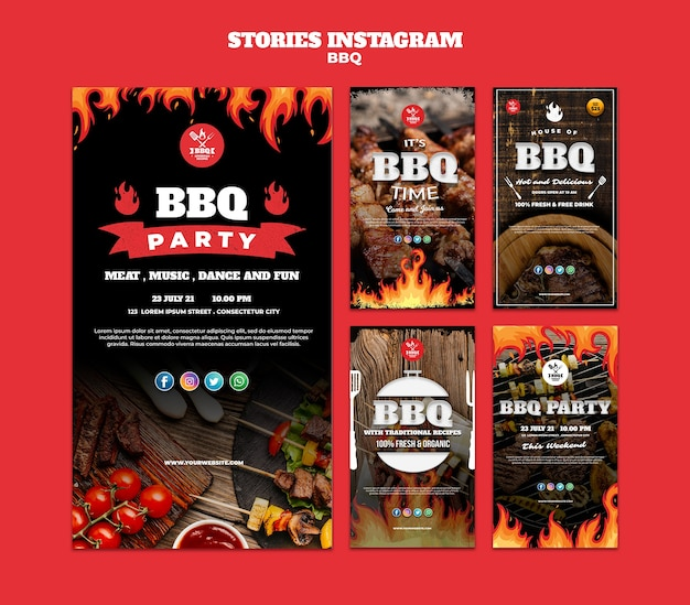 Bbq concept instagram stories template