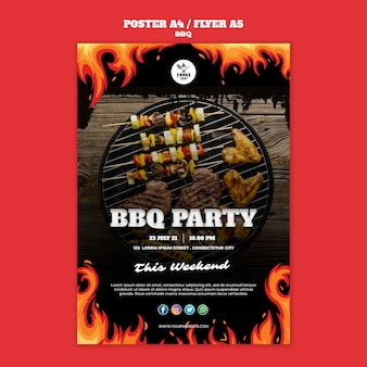Bbq concept poster flyer template