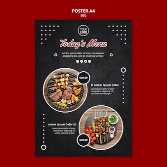 Шаблон плаката с барбекю