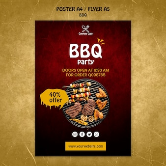 Bbq concept poster template