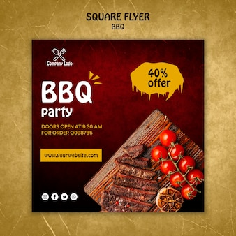 Bbq concept square flyer template