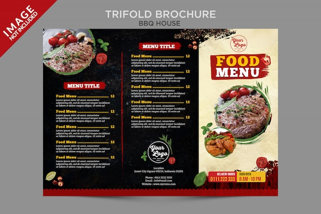 Bbq house food menu outside brochure series
