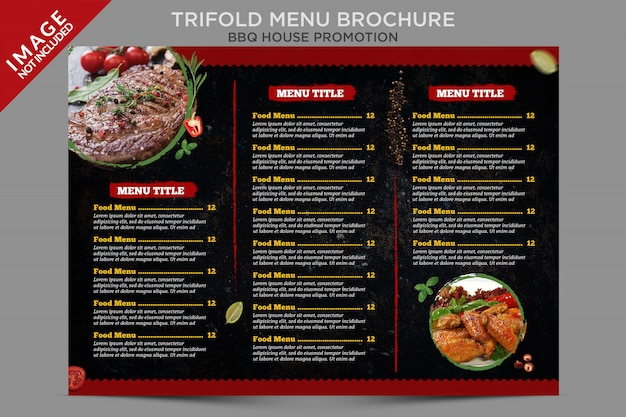 Серия брошюр bbq house trifold menu inside