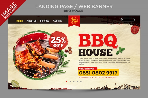 Bbq house web banner or landing page series