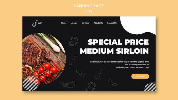 Bbq landing page template Free Psd