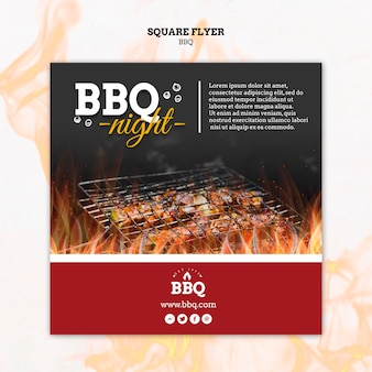 Bbq night and grill square flyer template