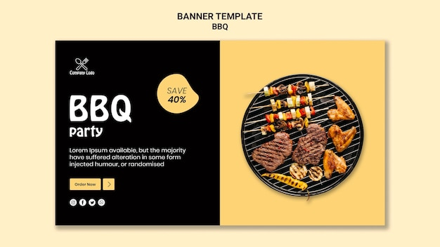 Bbq party banner template design