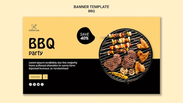 Bbq party banner template style