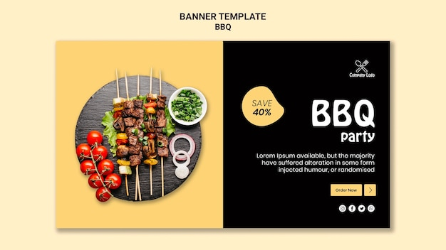 Bbq party banner template