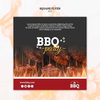 Bbq party and grill square flyer template