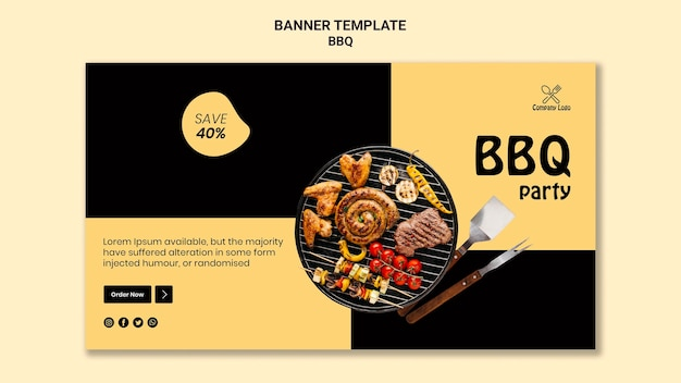 Bbq party horizontal banner design
