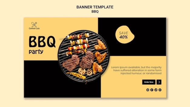 Bbq party horizontal banner style