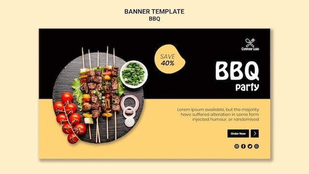 Bbq party horizontal banner template