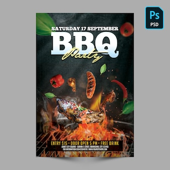 Bbq party poster invitation template