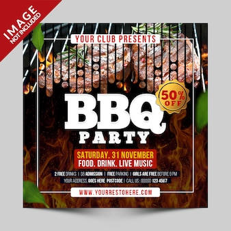 Bbq party social media template