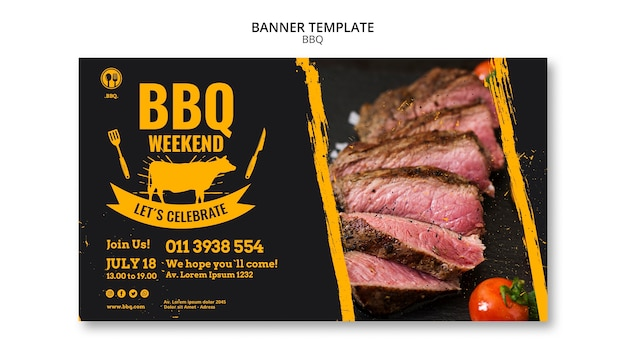 Bbq party template banner